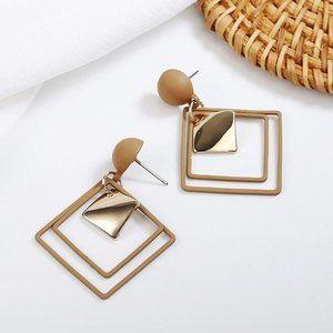 3/$20 New Gold & Tan Square Dangle Earrings